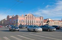 Saint-Petersburg. Russia. The city transport on The Nevsky Avenue. SAINT-PETERSBURG, RUSSIA, MARCH 29, 2017: City transport on the Nevsky Avenue near The Stock Image