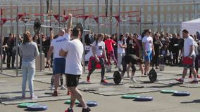 SAINT-PETERSBURG, RUSSIA. The competitions in powerlifting among women. stock video
