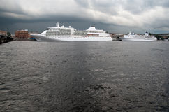 Saint-Petersburg. Russia. Cruise ships on The Neva River Stock Photo