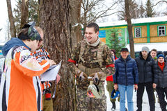 Saint-Petersburg, Russia - February 21, 2016: Big annual paintball scenario game 'Day M' in Snaker club Stock Photography