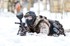 Saint-Petersburg, Russia - February 21, 2016: Big annual paintball scenario game 'Day M' in Snaker club Stock Photos