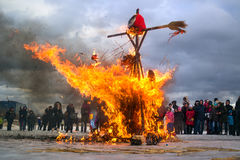 Saint-Petersburg, Russia - February 22, 2015: Feast Maslenitsa on Vasilyevsky Island. royalty free stock photos