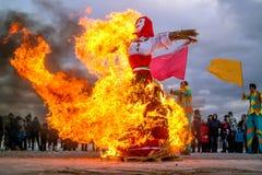 Saint-Petersburg, Russia - February 22, 2015: Feast Maslenitsa on Vasilyevsky Island. Stock Photos
