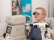 Woman visits an optometrist Stock Photos