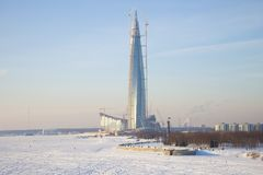 View of the construction of the high-rise building `Lakhta Center`, Saint Petersburg Stock Photography