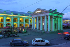 Saint Petersburg, Russia. Gostiny Dvor (covered market, nowadays a trandy shopping mall) and an old guard post building by its side in downtown Saint Petersburg Royalty Free Stock Image