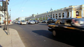 SAINT-PETERSBURG, RUSSIA,  Heavy Traffic At Nevsky Avenue - is the main street in the city stock video