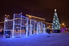 Saint-Petersburg, Russia - January 02, 2017: Christmas tree and. Light decorations in the Moscow area. Night Stock Image
