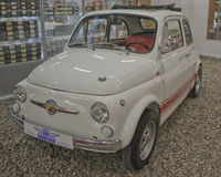 SAINT-PETERSBURG, RUSSIA on January 25, 2015. Exhibition of vintage cars. Fiat abarth white 1965 issue Royalty Free Stock Photo