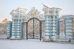 Gate of Catherine Palace in Tsarskoye Selo in winter Royalty Free Stock Photo