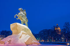 Monument of Russian emperor Peter the Great and St Isaac Cathedr Royalty Free Stock Photo