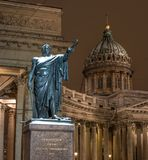 Saint Petersburg, Russia - January 22, 2018: Monument to Marshal Kutuzov in front of Kazan Cathedral. Night photo. stock photo