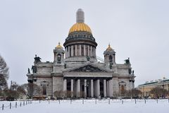 St. Isaac's Cathedral on a cloudy day in winter Royalty Free Stock Image