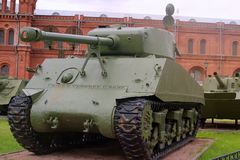 Saint Petersburg, Russia - July 07, 2017: American tank Sherman received by the Soviet Union on lend-lease. Museum of artillery, e royalty free stock photography
