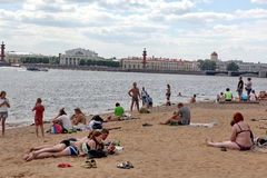 SAINT PETERSBURG, RUSSIA - JULY, 21 2015: Beach at  Peter and Pa Royalty Free Stock Photo