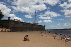 SAINT PETERSBURG, RUSSIA - JULY, 21 2015: Beach at  Peter and Pa Royalty Free Stock Images