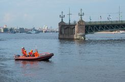 SAINT-PETERSBURG, RUSSIA - JULY 20, 2017: Boat of Rescue Service with Rescuers in St. Petersburg, Russia. Boat of Rescue Service with Rescuers in St. Petersburg Royalty Free Stock Image
