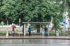 SAINT PETERSBURG. RUSSIA - JULY 01 2017. Bus stop, St Petersburg. Bad summer weather stock image