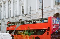A bus for tourist excursions stands near Nevsky Prospect. Saint Petersburg, RUSSIA - July 13, 2018: A bus for tourist excursions stands near Nevsky Prospect stock photos