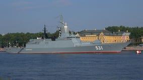 Corvette `Smart` close-up in the water area of the Neva river, Saint Petersburg