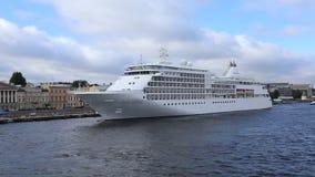 Cruise sea-craft `Silver Whisper` on Neva river stock video footage