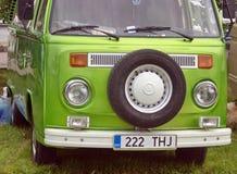 Saint Petersburg, Russia - July 08, 2017: Festival of old Volkswagen car Bughouse Fest 2017. Green Volskwagen Transporter. Saint Petersburg, Russia - July 08 stock images