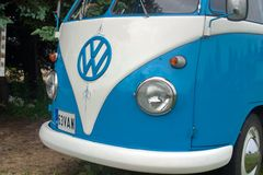 Saint Petersburg, Russia - July 08, 2017: Festival of old Volkswagen car Bughouse Fest 2017 . Volskwagen Transporter in the exhibi. Saint Petersburg, Russia stock photos