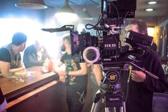 SAINT PETERSBURG, RUSSIA - JULY 22, 2017: Film Crew On Location. 4K Camera Cinematographer. Filmmaking. Set, scenery of