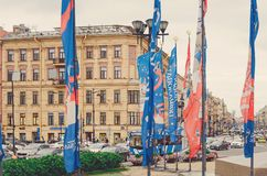 Flags in honor of the World Cup on the streets of St. Petersburg. stock photos
