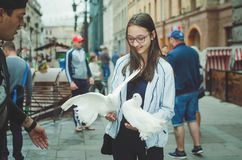 Girl teenager walks on the street of St. Petersburg, holds in the hands of white pigeons stock photo