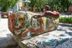 Mosaic bench in Saint-Petersburg. SAINT- PETERSBURG, RUSSIA - JULY 10, 2016: Mosaic bench at the courtyard of Minor Academy of art in Saint-Petersburg, Russia Stock Photo