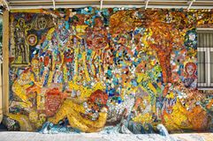 Mosaic panel in Saint-Petersburg. SAINT- PETERSBURG, RUSSIA - JULY 10, 2016: Mosaic panel at the courtyard of Minor Academy of art in Saint-Petersburg, Russia Stock Images