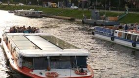 SAINT PETERSBURG, RUSSIA - JULY 14, 2016: passenger boat on the Neva river. stock video