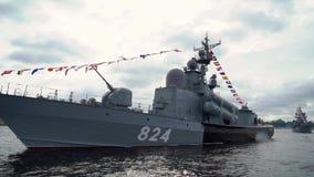 SAINT-PETERSBURG, RUSSIA - JULY 25, 2019: Russian nave battle ships parade at river Neva.