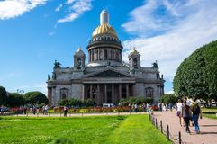 Saint Isaac`s Cathedral. SAINT- PETERSBURG, RUSSIA - JULY 10, 2016: Saint Isaac`s Cathedral or Isaakievskiy Sobor in Saint Petersburg, Russia, is the largest Stock Photos