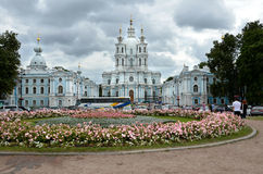 SAINT PETERSBURG / RUSSIA - July 16, 2013: Smolny Convent of the Resurrection located on Ploschad Rastrelli, on the bank of the Ri Stock Photo