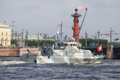 Sowing-boat of the `Grachonok` type takes part in the military parade in honor of Navy Day, Sankt Petersburg Royalty Free Stock Photography