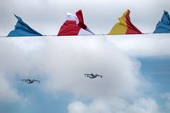Flying boat Be-12 Chaika, codification NATO: Mail, anti-submarine. Saint Petersburg, Russia - July 30, 2017: Summer festival Navy, nautical flags, planes parade royalty free stock photo