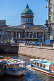 SAINT PETERSBURG, RUSSIA - JULY 26, 2014:  Tour boats on the Moi Royalty Free Stock Photos