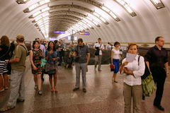 SAINT PETERSBURG, RUSSIA - JULY, 23 2015: At The underground sta Royalty Free Stock Photos