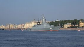 Corvette `Smart`. Preparing for the day of the Navy in St. Petersburg