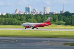 Airbus A319-114 VP-BIU airplane of the Rossiya airline on the runway at Pulkovo airport royalty free stock photos