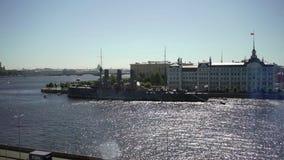 SAINT-PETERSBURG, RUSSIA - JUNE 18, 2019: Aurora ship stock video footage
