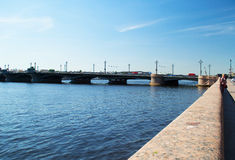 Saint-Petersburg, Russia - June 01, 2016: Bridge and quay Royalty Free Stock Photos