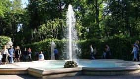 SAINT-PETERSBURG, RUSSIA - 23 JUNE 2017: Fountain in the summer garden, Saint-Petersburg, Russia. stock video footage