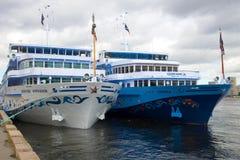 `Moonlight Sonata` and `Dmitry Furmanov` - cruise ships of the company `Infoflot`. SAINT-PETERSBURG, RUSSIA - JUNE 22, 2018: `Moonlight Sonata` and `Dmitry stock photos
