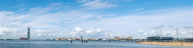 SAINT PETERSBURG. RUSSIA - JUNE 25 2017. Panoramic Gulf of Finla. Nd view with multipurpose center Lakhta Gazprom headquarters under construction and `Zenith Stock Images