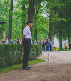 Saint Petersburg, Russia - June , 2016- Peterhof, Russia, security guard in the Park Royalty Free Stock Photo