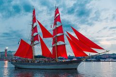 SAINT-PETERSBURG, RUSSIA - JUNE 21, 2018: Swedish brig Tre Krunur on rehearsal for the annual celebration school graduates. `Scarlet Sails` in St. Petersburg on royalty free stock photo