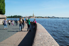 Saint-Petersburg, Russia - June 01, 2016: Tourists on the Petrograd direction of Vasilyevsky Island in summer Stock Photography